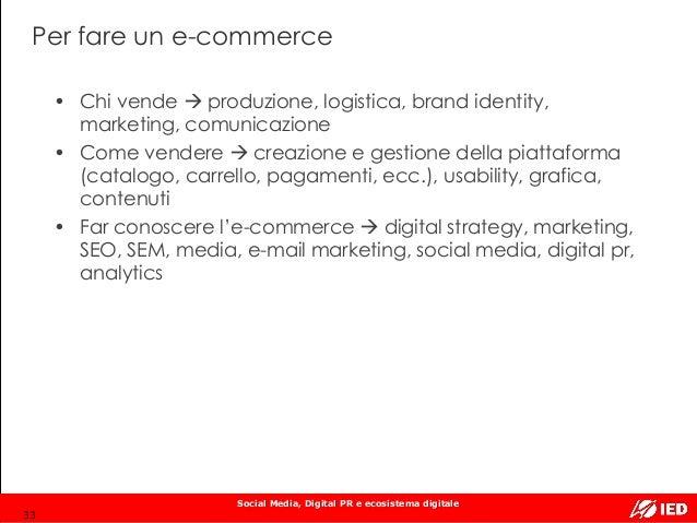 Social Media, Digital PR e ecosistema digitale Per fare un e-commerce 33 • Chi vende  produzione, logistica, brand identi...
