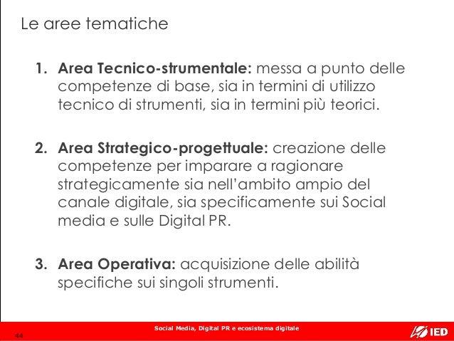 Social Media, Digital PR e ecosistema digitale Le aree tematiche 1. Area Tecnico-strumentale: messa a punto delle competen...