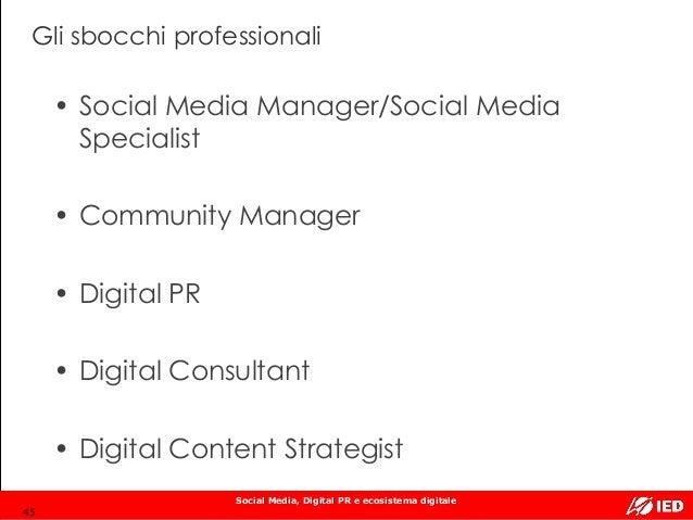Social Media, Digital PR e ecosistema digitale Gli sbocchi professionali • Social Media Manager/Social Media Specialist • ...