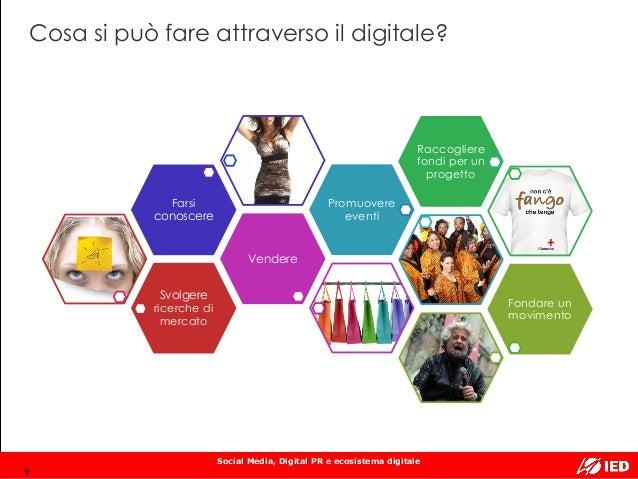 Social Media, Digital PR e ecosistema digitale Cosa si può fare attraverso il digitale? Svolgere ricerche di mercato Vende...