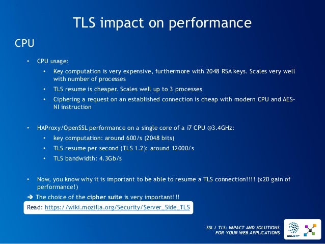 SSL / TLS: IMPACT AND SOLUTIONS FOR YOUR WEB APPLICATIONS  TLS impact on performance  CPU  •CPU usage:  •Key computation i...