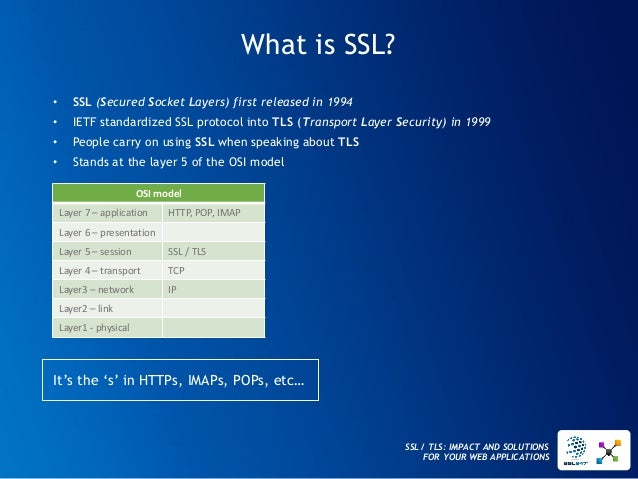 SSL / TLS: IMPACT AND SOLUTIONS FOR YOUR WEB APPLICATIONS  What is SSL?  •SSL(Secured Socket Layers) first released in 199...