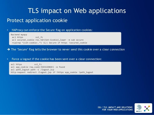 SSL / TLS: IMPACT AND SOLUTIONS FOR YOUR WEB APPLICATIONS  TLS impact on Web applications  •HAProxy can enforce the Secure...