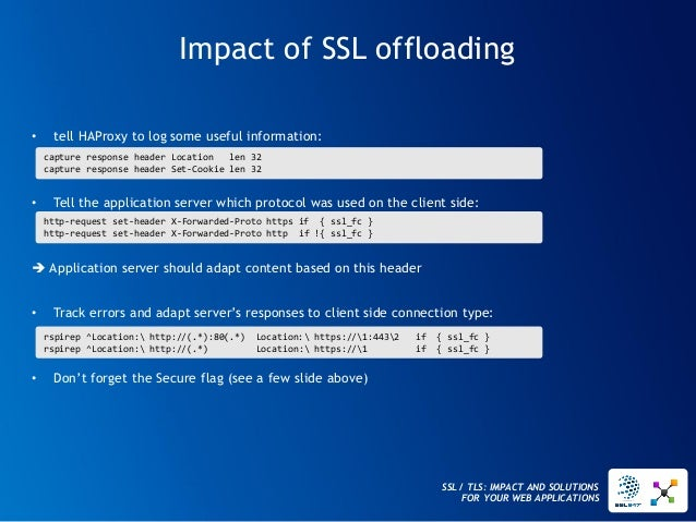 SSL / TLS: IMPACT AND SOLUTIONS FOR YOUR WEB APPLICATIONS  Impact of SSL offloading  •tell HAProxy to log some useful info...