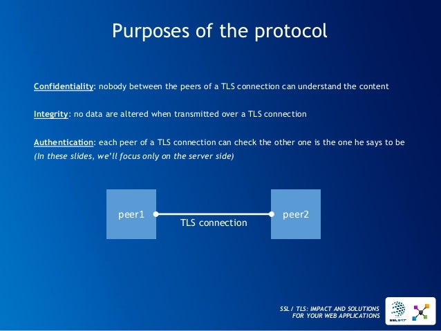 SSL / TLS: IMPACT AND SOLUTIONS FOR YOUR WEB APPLICATIONS  Confidentiality: nobody between the peers of a TLS connection c...