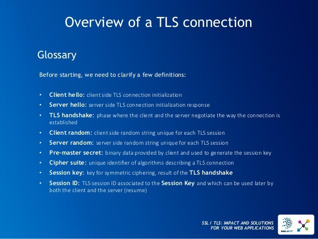 SSL / TLS: IMPACT AND SOLUTIONS FOR YOUR WEB APPLICATIONS  Overview of a TLS connection  Before starting, we need to clari...