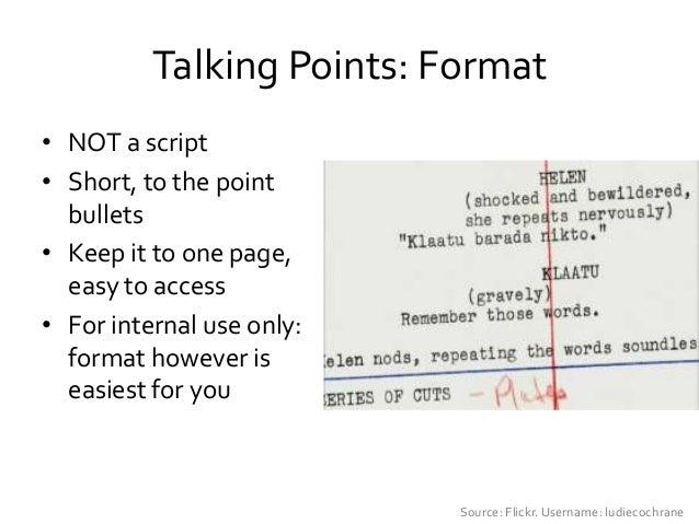 Talking Points Format Dolapgnetband