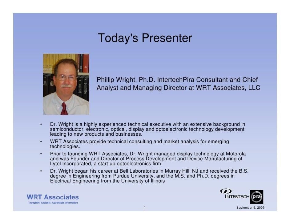 Today's Presenter                           Phillip Wright, Ph.D. IntertechPira Consultant and Chief                      ...