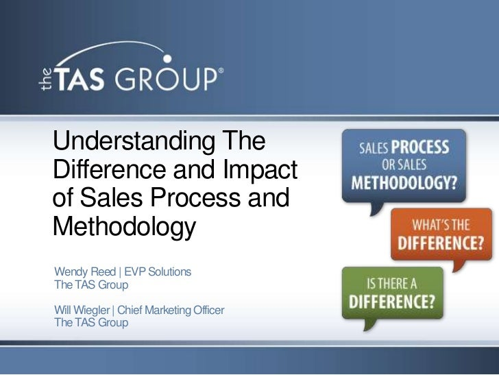 Understanding TheDifference and Impactof Sales Process andMethodologyWendy Reed | EVP SolutionsThe TAS GroupWill Wiegler |...