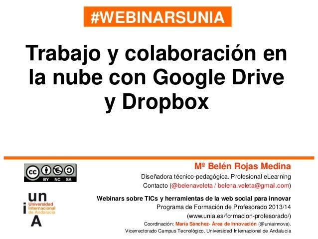 #WEBINARSUNIA Mª Belén Rojas Medina Diseñadora técnico-pedagógica. Profesional eLearning Contacto (@belenaveleta / belena....