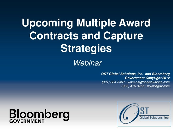 Upcoming Multiple Award            Contracts and Capture                  Strategies                                      ...