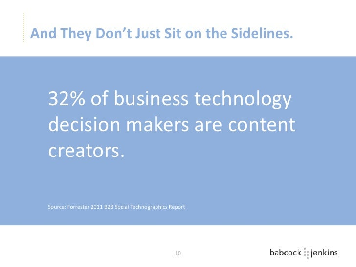 And They Don't Just Sit on the Sidelines.  32% of business technology  decision makers are content  creators.  Source: For...