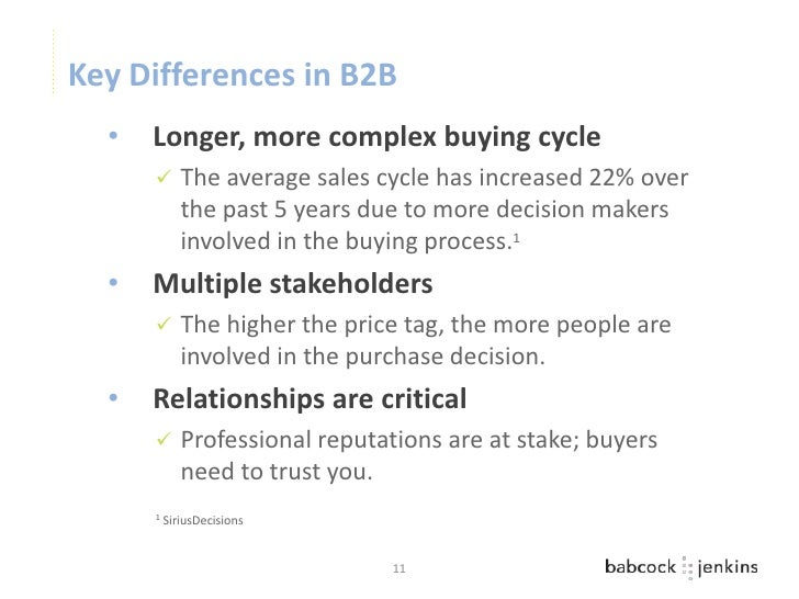 Key Differences in B2B  •   Longer, more complex buying cycle            The average sales cycle has increased 22% over  ...