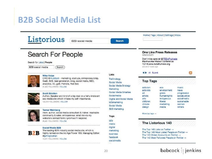 B2B Social Media List                        20