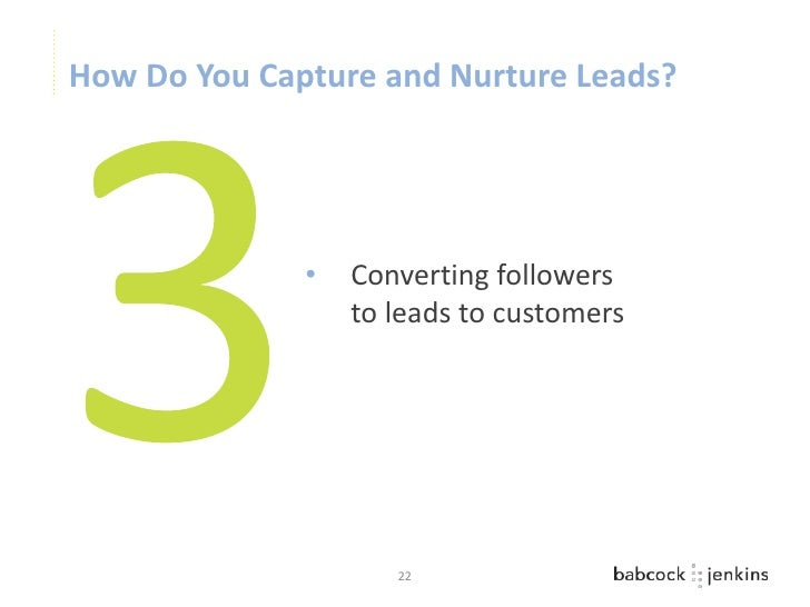 How Do You Capture and Nurture Leads?              •   Converting followers                  to leads to customers        ...