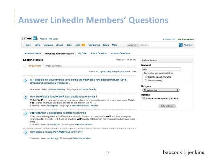 Answer LinkedIn Members' Questions                   27