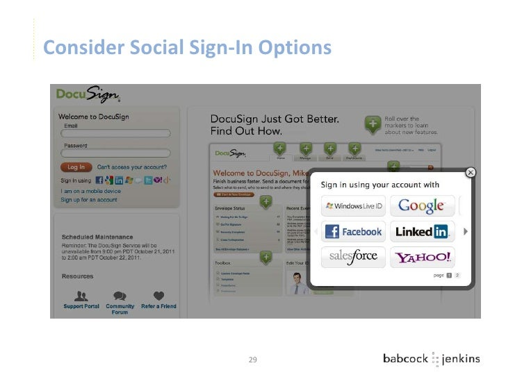 Consider Social Sign-In Options                      29