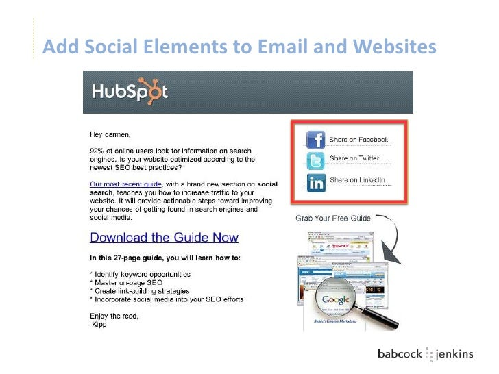 Add Social Elements to Email and Websites