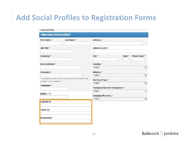 Add Social Profiles to Registration Forms                      32