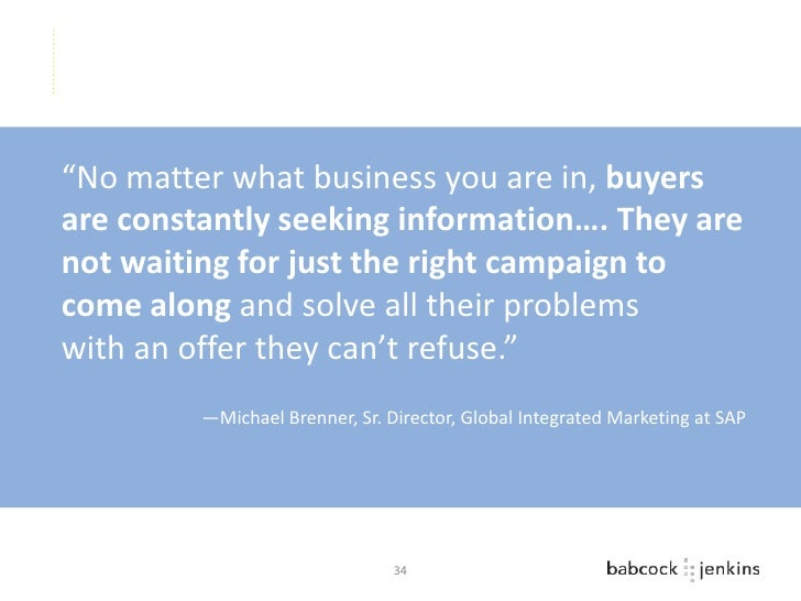 """""""No matter what business you are in, buyersare constantly seeking information…. They arenot waiting for just the right cam..."""