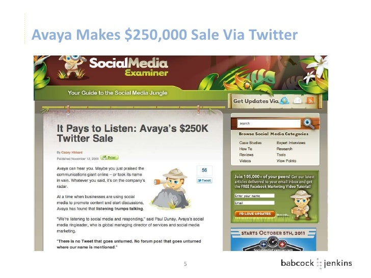 Avaya Makes $250,000 Sale Via Twitter                     5