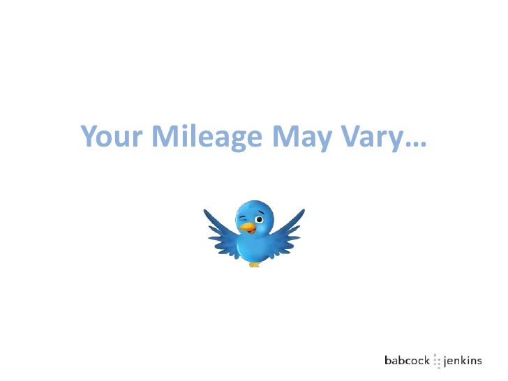 Your Mileage May Vary…