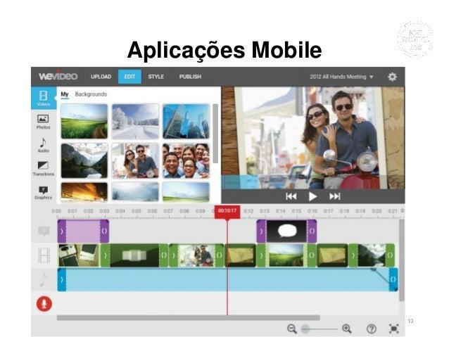Aplicações Mobile • VivaVideo • WeVideo • Magisto • Animoto • iMovie (iOS) • Videoshow (Android) • PowerDirector (Android)...