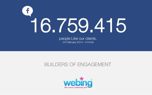 16.759.415 people Like our clients. (10 February 2014 – h14:40)   BUILDERS OF ENGAGEMENT