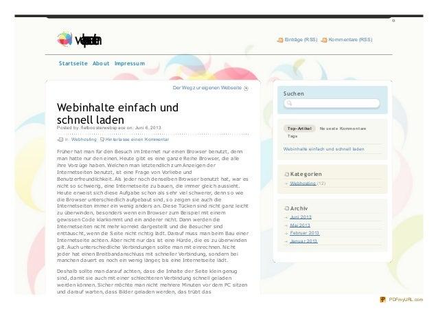 Der Weg zur eigenen WebseiteWebinhalte einfach undschnell ladenPosted by: flatboosterwebspace on: Juni 6, 2013In: Webhosti...
