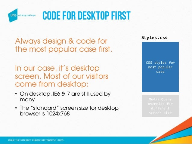 CODEFOR DESKTOPFIRST Always design & code for the most popular case first. In our case, it's desktop screen. Most of our v...