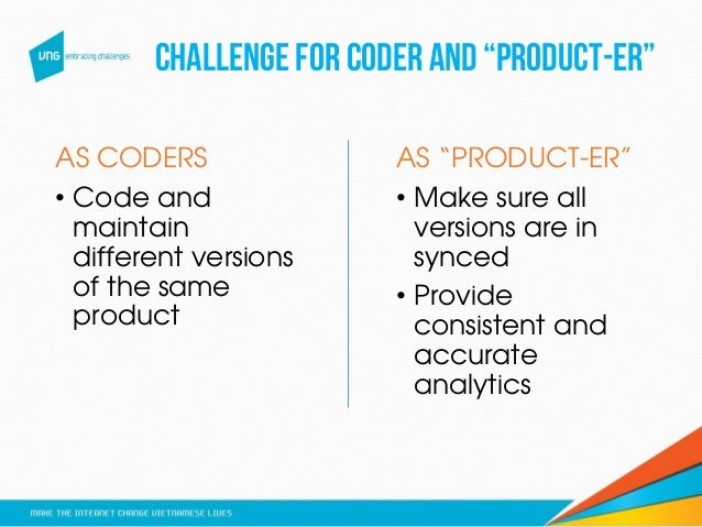 """CHALLENGE FOR CODER AND """"PRODUCT-ER"""" AS CODERS • Code and maintain different versions of the same product AS """"PRODUCT-ER"""" ..."""
