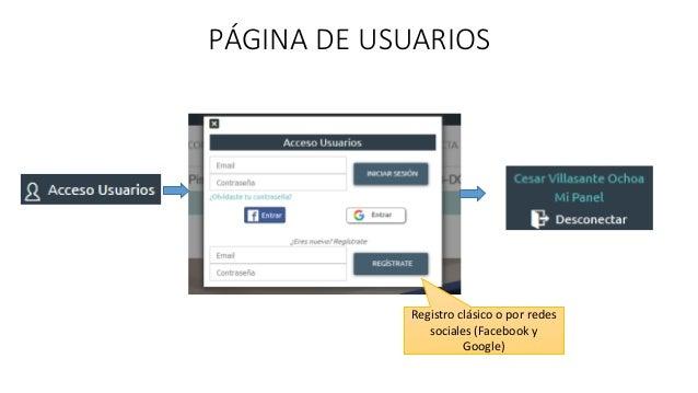 PÁGINA DE USUARIOS Registro clásico o por redes sociales (Facebook y Google)