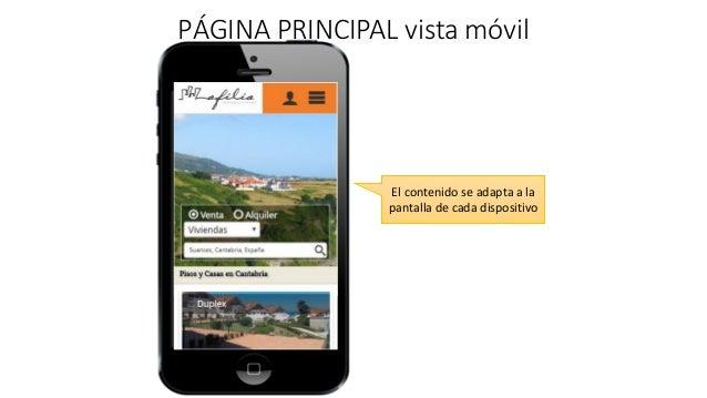 PÁGINA PRINCIPAL vista móvil El contenido se adapta a la pantalla de cada dispositivo
