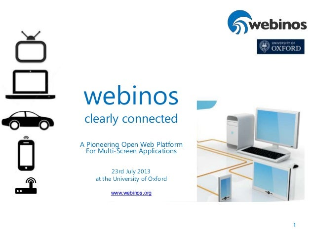 1 webinos clearly connected A Pioneering Open Web Platform For Multi-Screen Applications 23rd July 2013 at the University ...