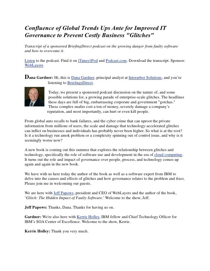 """Confluence of Global Trends Ups Ante for Improved IT Governance to Prevent Costly Business """"Glitches"""" Transcript of a spon..."""
