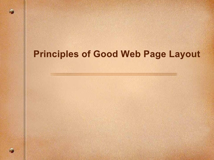 Principles of Good Web Page Layout