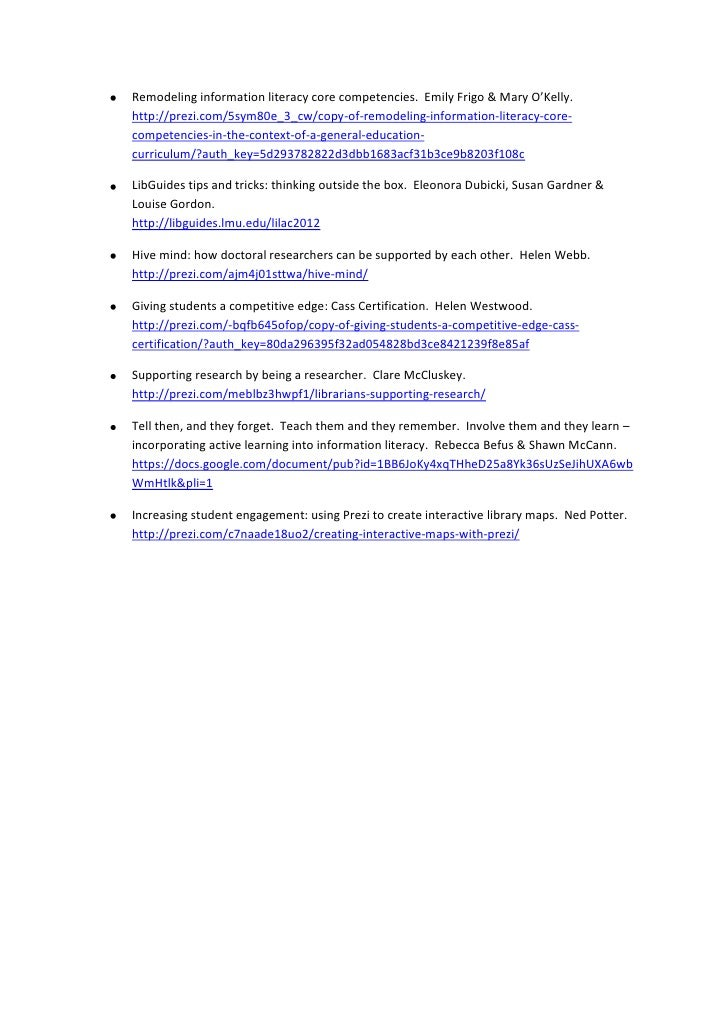 Web Links To Online Presentations For Lilac 2012