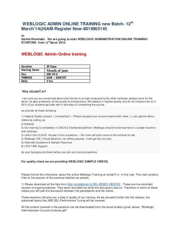 Weblogic Online Template
