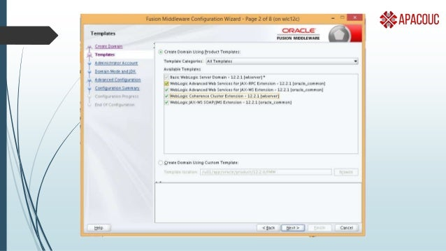 Examples :- #EMC12c  Installer sets up WebLogic for you  Some options to customise to be consistent with your environment