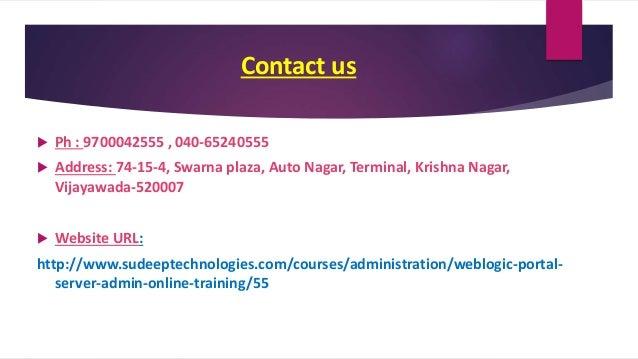 Weblogic Portal Server Admin Online Training In Hyderabad