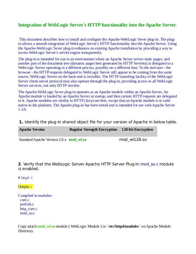 Configuring apache web server with weblogic weblogicexpert.