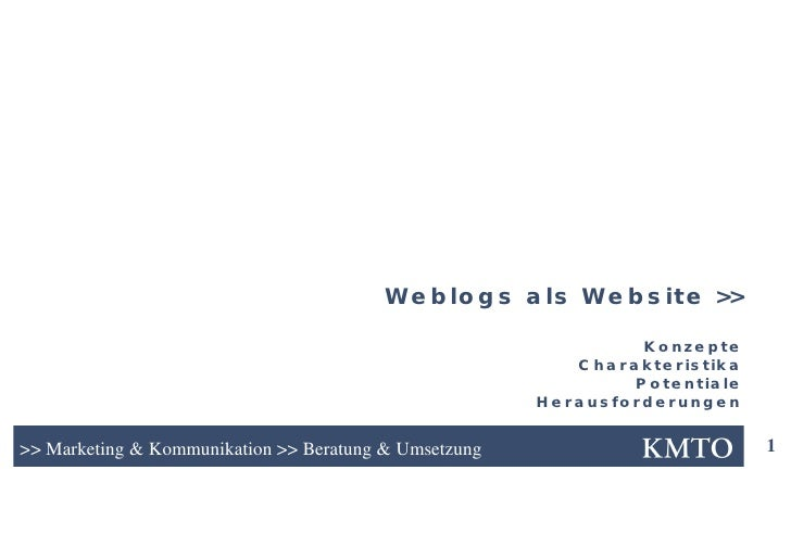 Weblogs als Website >>                                                                  Konzepte                          ...