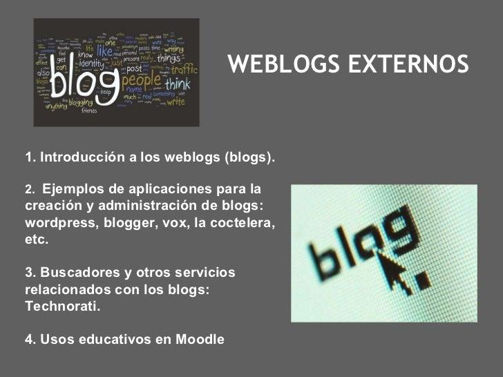WEBLOGS EXTERNOS 1. Introducción a los weblogs (blogs). 2.  Ejemplos de aplicaciones para la creación y administración de ...