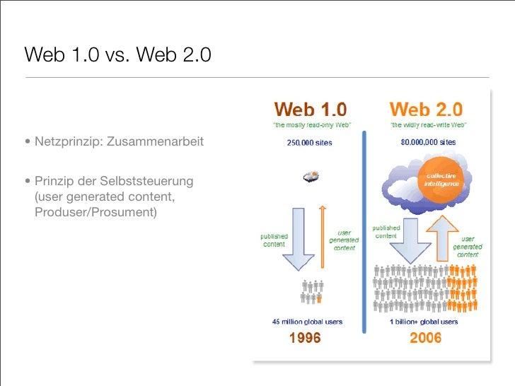 Web 1.0 vs. Web 2.0    • Netzprinzip: Zusammenarbeit   • Prinzip der Selbststeuerung   (user generated content,   Produser...