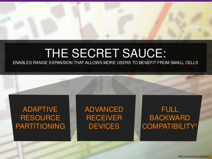 THE SECRET SAUCE:     ENABLES RANGE EXPANSION THAT ALLOWS MORE USERS TO BENEFIT FROM SMALL CELLS        ADAPTIVE          ...