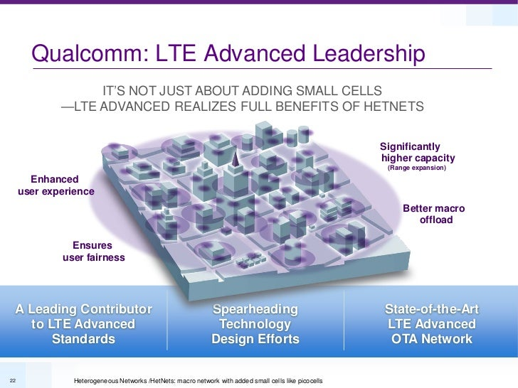 Qualcomm: LTE Advanced Leadership                  IT'S NOT JUST ABOUT ADDING SMALL CELLS             —LTE ADVANCED REALIZ...