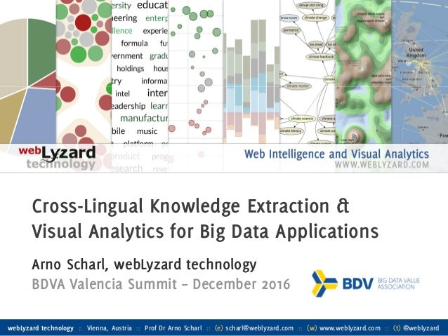 1 Cross-Lingual Knowledge Extraction & Visual Analytics for Big Data Applications Arno Scharl, webLyzard technology BDVA V...