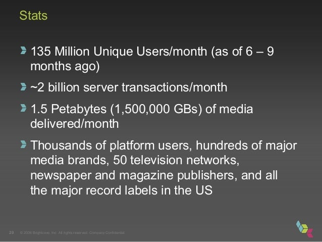 © 2006 Brightcove, Inc. All rights reserved. Company Confidential.20 Stats 135 Million Unique Users/month (as of 6 – 9 mon...