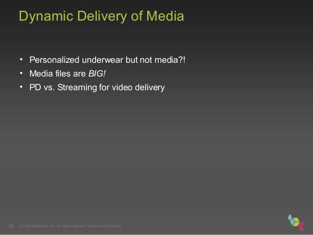 © 2006 Brightcove, Inc. All rights reserved. Company Confidential.32 Dynamic Delivery of Media • Personalized underwear bu...