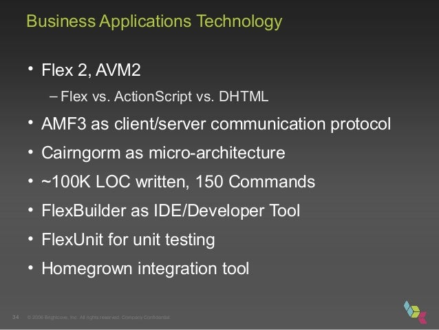 © 2006 Brightcove, Inc. All rights reserved. Company Confidential.34 Business Applications Technology • Flex 2, AVM2 – Fle...